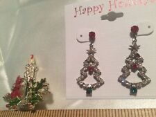 2 pc lot, New Pierced Christmas Tree Earrings, w Colored Stones + Candle Pin