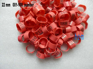 001-100 Numbered Pink Chicken Leg Bands 22mm Chicken Rings