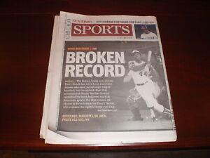 Chicago Sun-Times Newspaper Barry Bonds Breaks Hank Aaron's HR Record 8/8/2007