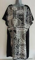 PER UNA SPEZIALE Women's Black & Grey Illusion Print Tunic Dress. Size UK 16.