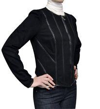 Ralph Lauren Jeans Co. Faux Leather Trim Denim Jacket Coat Top Black 6