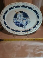 """Fantasy Unicorn 14 1/2"""" oval Serving Platter Blue And White BHP C N.Y."""