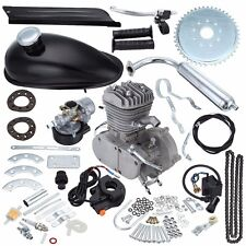 Black 2 Stroke 80cc Gas Bike Engine Motor Kit DIY Motorized Bicycle Chrome pipe