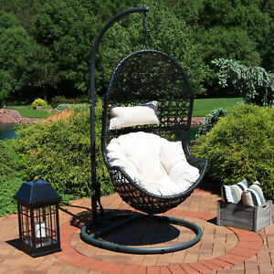 Sunnydaze Cordelia Hanging Egg Chair with Stand - Resin Wicker - Beige Cushions