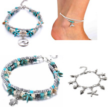 Fashion Beaded Adjustable Beach Anklet Ad Boho Ankle Bracelet Silver Tone Women