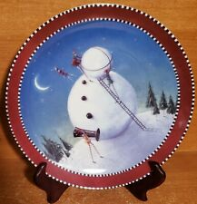"""Department 56 / Dept 56 KRINKLES BUILDING A SNOWMAN plate, 8 3/8"""", New, NWT"""