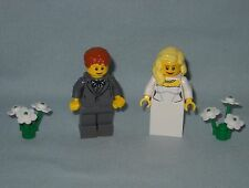 NEW LEGO WEDDING MINIFIGURES,BRIDE AND GROOM IN DARK BLUISH GRAY JACKET
