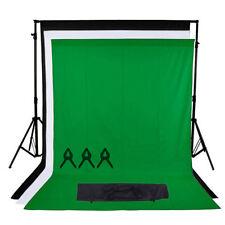 Photo studio kit noir blanc vert fond chroma key screen background stand
