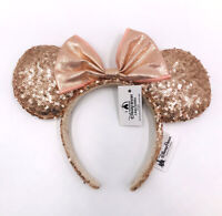 2020 Bow Disney Parks Sequins Kids New Hat Minnie Ears Champagne Gold Headband