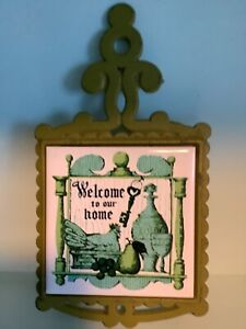 Vintage Hot plate cast iron and ceramic title kitchen decor