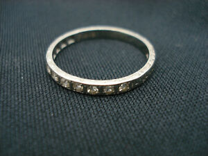 Estate 18k White Gold Diamond Band Ring w Designs 0.10ctw Size 8 1/2