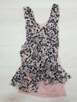 LIPSY A-Line Mini Dress Size 10 Pale Pink Abstract Print Stretch Sleeveless