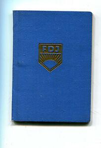 FDJ  Ausweis der Freien Deutschen Jugend   der DDR mit viel Marken