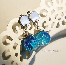 Ohrstecker Ohrringe Edelstahl Blau Weiss Perlen ** handmade **