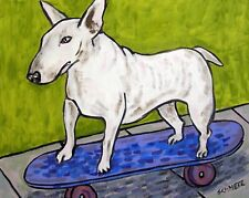 Bull Terrier Skateboarding dog art print 4x6 skate boarding glossy photo