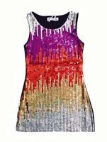 Girls Sparkle Sequin Tunic Dress Multi-Coloured Trend Prom 60's Dance Kids 4-14