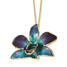 Flowers & Leaves Lacquer Dipped Gold Trim Purple/Blue Orchid Necklace 20""