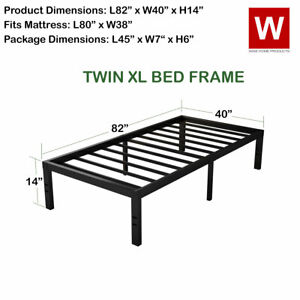 Twin XL Steel Bed Frame -  Heavy Duty Metal Platform Beds with Storage Space