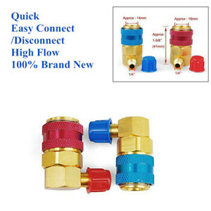 2PCS Car Air Condition R134a Quick Connector High Low A/C Coupler Adapter Gauge