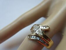 .65 CTW PEAR AND BAGUETTE DIAMOND RING 14KT SZ/7