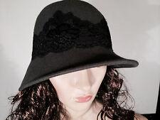 Jessica Simpson Women's Cloche Hat-Wild Silver-Black Lace Detail - B008M53TJE