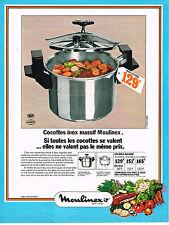 PUBLICITE  1974    MOULINEX   cocotte-minute inox