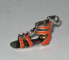 New Thomas Sabo Sterling Silver Orange Enamel Gladiator Sandal Charm
