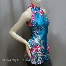CM Style Chinese Qi Pao Cheongsam Inspired Satin Tunic Top Blue S
