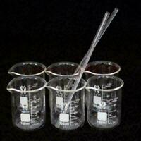 1Set (6+2) PCS Glass Beaker100ml  Borosilicate Measuring Lab Glassware