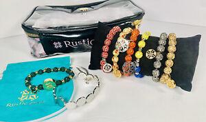 Rustic Cuff Bracelet Lot of 8 Bracelets, Pillow, Drawstring, Travel Zip Case