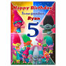 g385; Large A5 Personalised Birthday card; Trolls; for any name, age