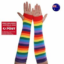 Women Girl Party Rainbow colorful Stripe Long Arm Fingerless Gloves Mittens