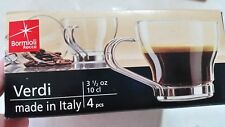 BORMIOLI ROCCO ITALY 4 PCS ESPRESSO CUP CLEAR GLASS  STAINLESS STEEL