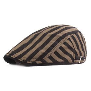 Men Classic Striped Beret Hats Stylish Driving Golf Cap Adjustable Newsboys Hat