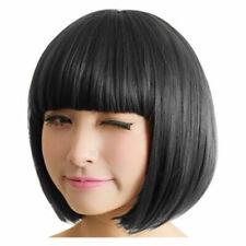Women Black Bangs Short Straight BoB Hair Full Wig Cosplay Stylish Sexy Wigs*