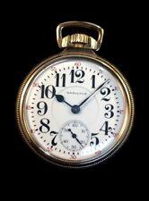 Hamilton 21J 992 16s Railroad Pocket watch Rose Gold Filled Case Extra Near Mint