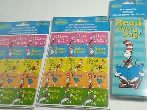 (2) Eureka Cat In The Hat Reading Success stickers and (1) Dr Seuss Bookmarks