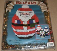 "1993 Bucilla Christmas ""Nesting Santas"" (Set of 3) Plastic Canvas Kit NIP"