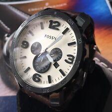 Mens Fossil Designer Watch NATE JR1390 Chronograph Steel Brown Leather Genuine