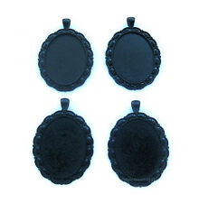 4 Goth Metallic GOTHIC BLACK DUTCHESS 40mm x 30mm CAMEO PENDANTS Frames Settings