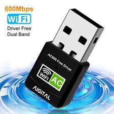 Aigital WiFi Adapter 600Mbps Wireless Network USB Dongle 5GHz Dual Long Range CD