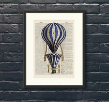Antique Book page Art Print - Hot Air Balloon 13  Upcycled Dictionary Wall Art