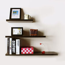 3X Floating Wooden Wall Shelf Shelves Wall Storage 30cm/40cm/50cm - Black