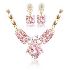 Rhinestone Pink Zircon Necklace Earrings Rose Gold Plated Women's Jewelry Sets