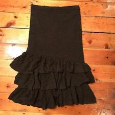 Calf Length Wool Patternless Regular Size Skirts for Women