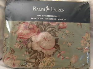 Ralph Lauren Charlotte 2 Green Floral Twin Fitted Sheet New Sealed USA made Vtg