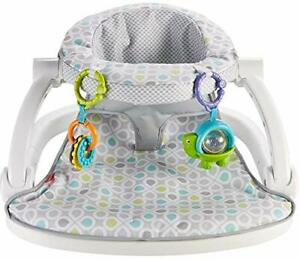 Fisher-Price Sit Me Up Floor Seat With Rattle Toys, Foldable, Grey/Green/Blue