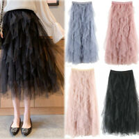 Casual Womens Comfortable Tulle High Waist Pleated Tutu Skirt Ladies Midi Skirt