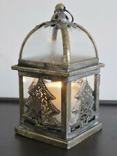 ANTIQUE STYLE CHRISTMAS TREE METAL LANTERN CANDLE HOLDER CHRISTMAS