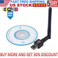 USB WiFi Wireless Adapter 600 Mbps Internet Network Dongle For Windows 7 10 PC